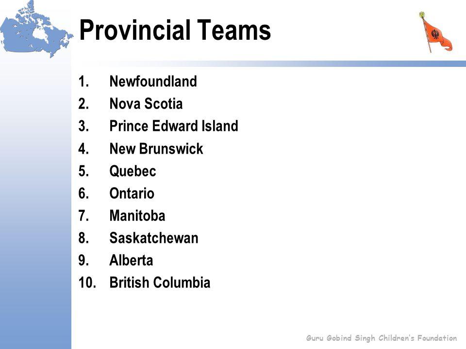Provincial Teams 1.Newfoundland 2.Nova Scotia 3.Prince Edward Island 4.New Brunswick 5.Quebec 6.Ontario 7.Manitoba 8.Saskatchewan 9.Alberta 10.British Columbia Guru Gobind Singh Children's Foundation