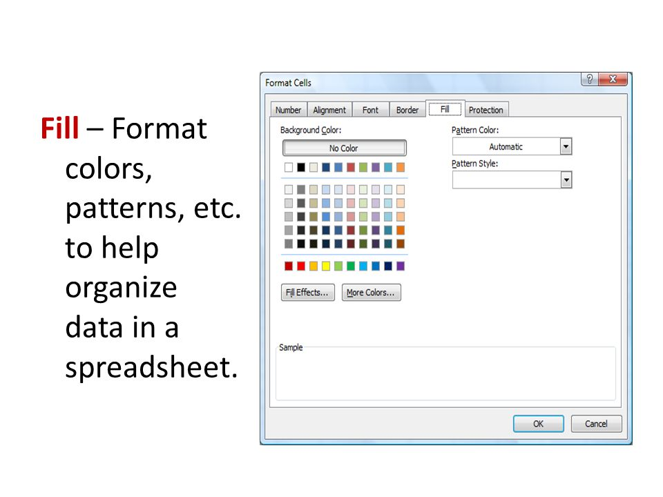 Fill – Format colors, patterns, etc. to help organize data in a spreadsheet.