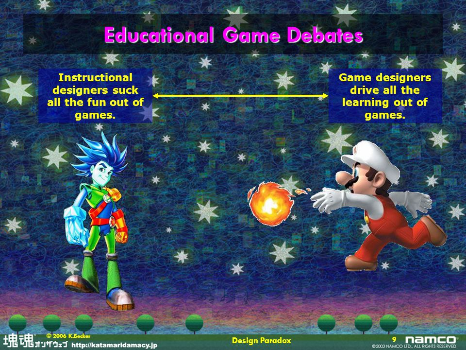 Design Paradox 10 © 2006 K.Becker Educational Game Debates Games Design is all we need.