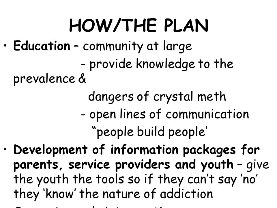 HOW/THE PLAN Education – community at large - provide knowledge to the prevalence & dangers of crystal meth - open lines of communication people build people' Development of information packages for parents, service providers and youth – give the youth the tools so if they can't say 'no' they 'know' the nature of addiction Support – early intervention