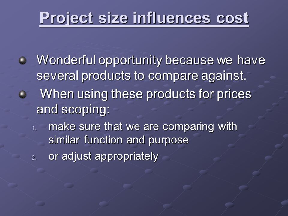 Project size influences cost Wonderful opportunity because we have several products to compare against.