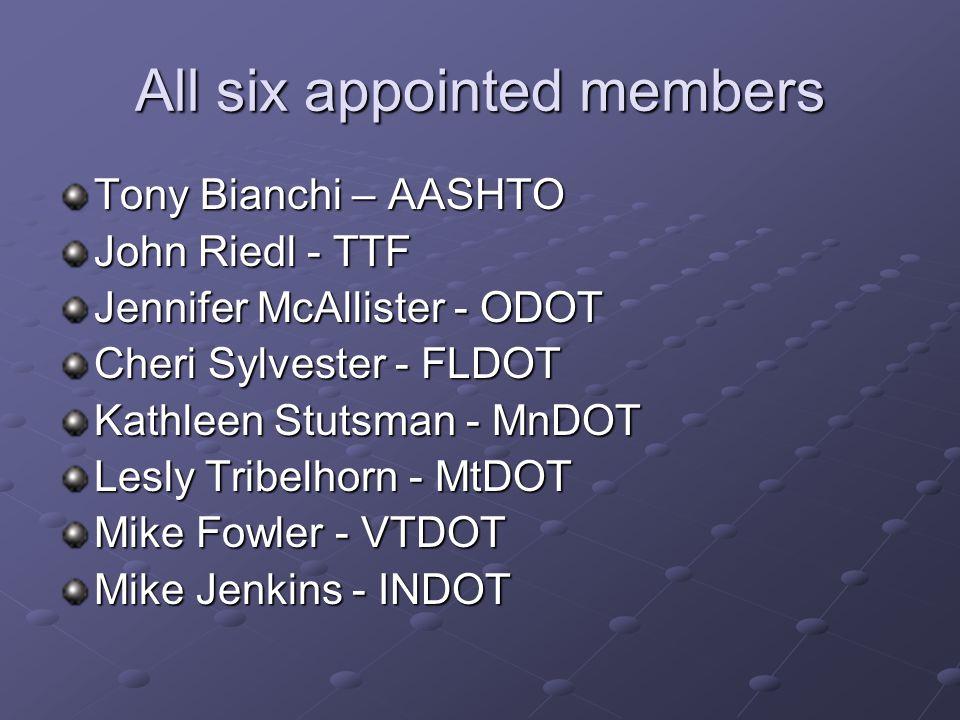 All six appointed members Tony Bianchi – AASHTO John Riedl - TTF Jennifer McAllister - ODOT Cheri Sylvester - FLDOT Kathleen Stutsman - MnDOT Lesly Tribelhorn - MtDOT Mike Fowler - VTDOT Mike Jenkins - INDOT