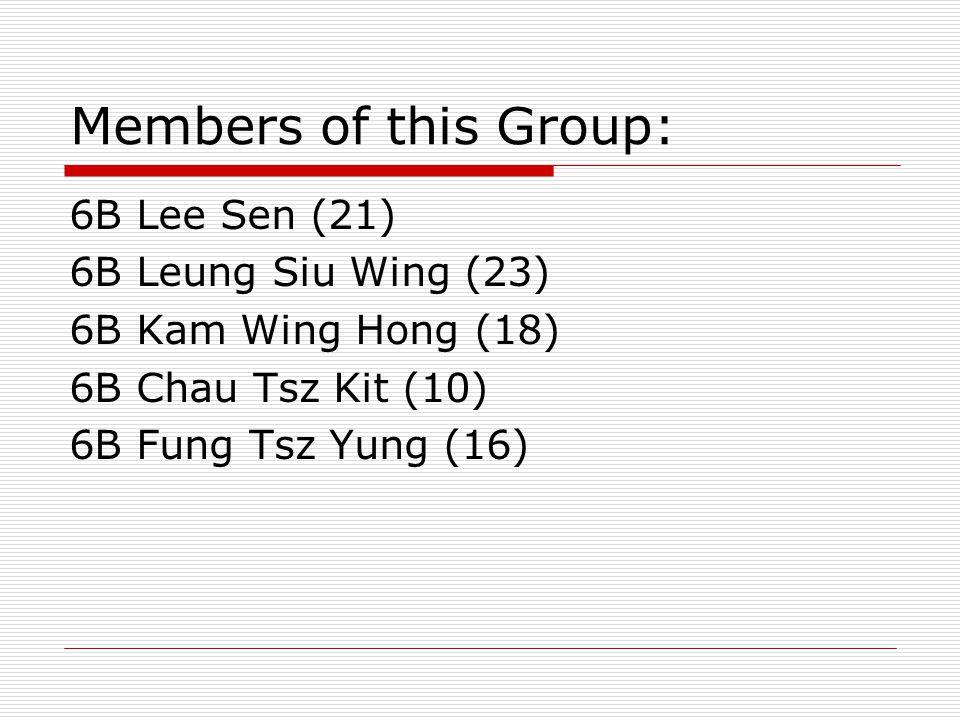 Members of this Group: 6B Lee Sen (21) 6B Leung Siu Wing (23) 6B Kam Wing Hong (18) 6B Chau Tsz Kit (10) 6B Fung Tsz Yung (16)