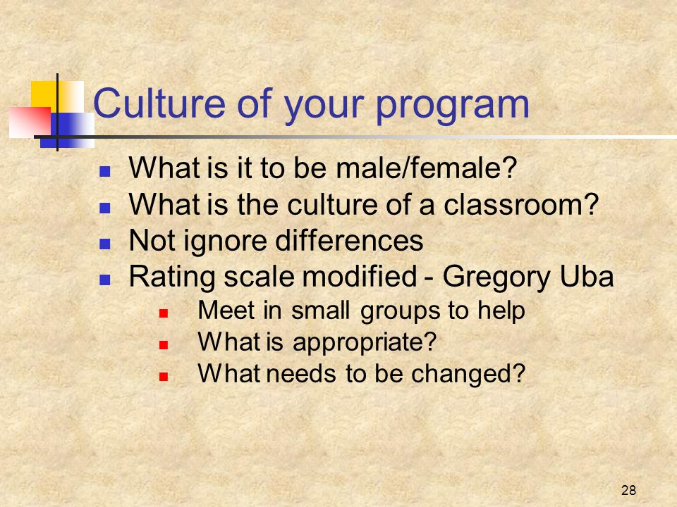 28 Culture of your program What is it to be male/female.