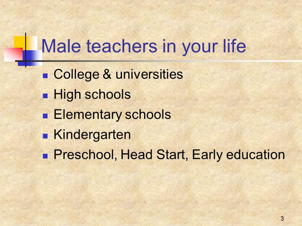 3 Male teachers in your life College & universities High schools Elementary schools Kindergarten Preschool, Head Start, Early education