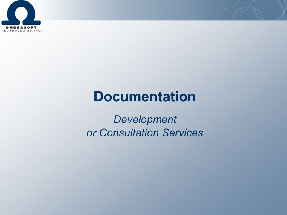 Documentation Development or Consultation Services