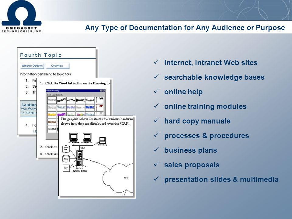 Any Type of Documentation for Any Audience or Purpose business plans searchable knowledge bases online help online training modules hard copy manuals