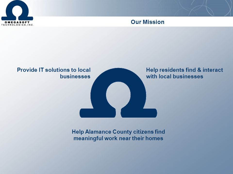 Our Mission Provide IT solutions to local businesses Help residents find & interact with local businesses Help Alamance County citizens find meaningfu