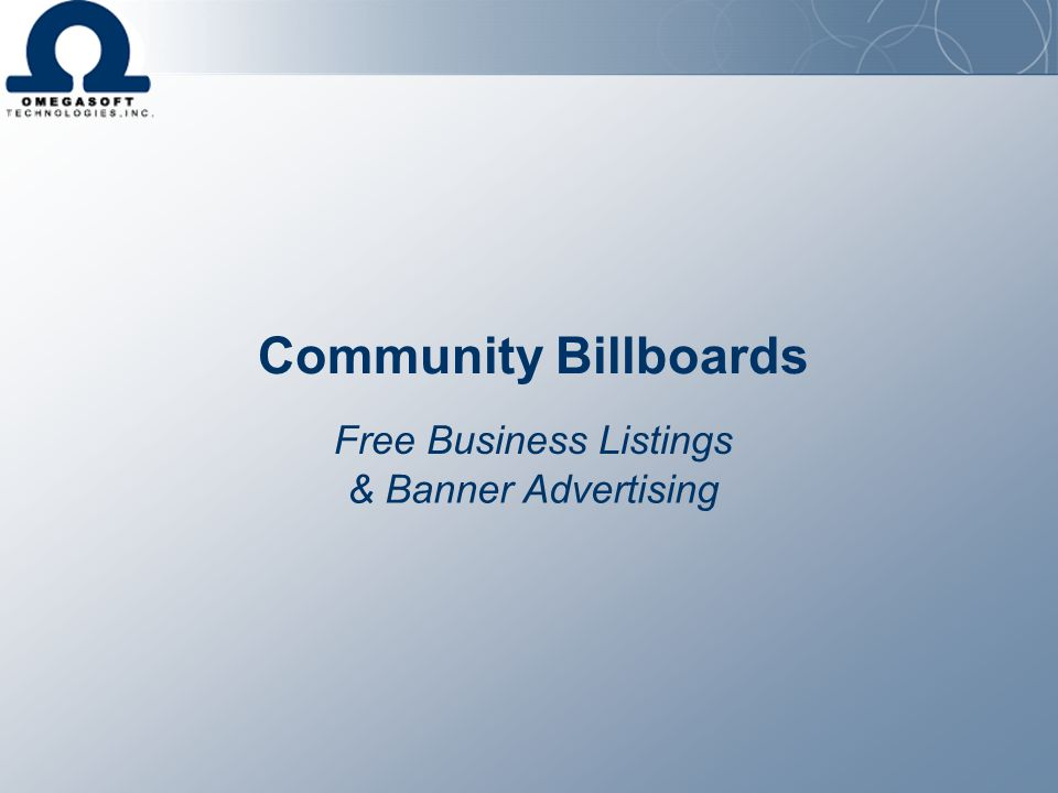 Community Billboards Free Business Listings & Banner Advertising