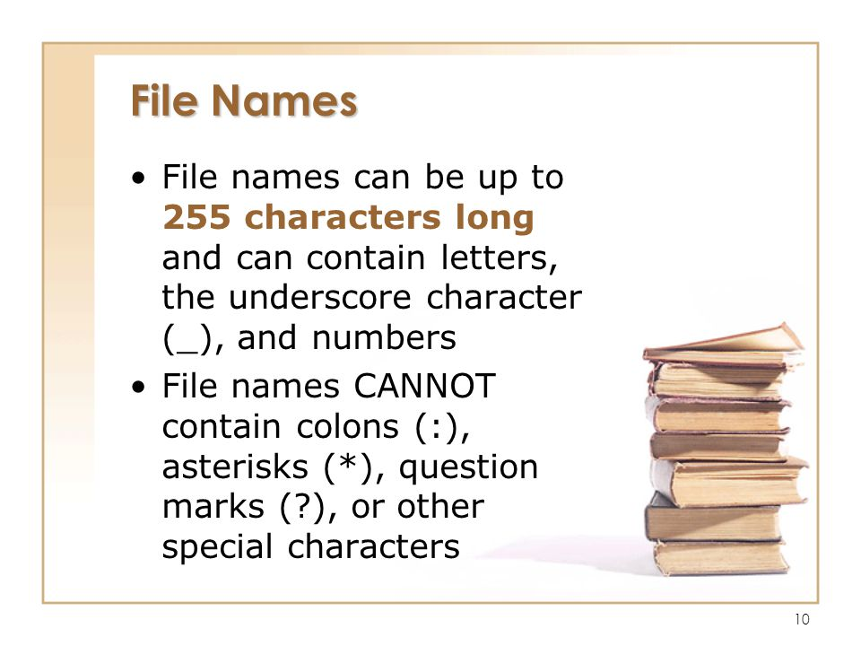 10 File Names File names can be up to 255 characters long and can contain letters, the underscore character (_), and numbers File names CANNOT contain