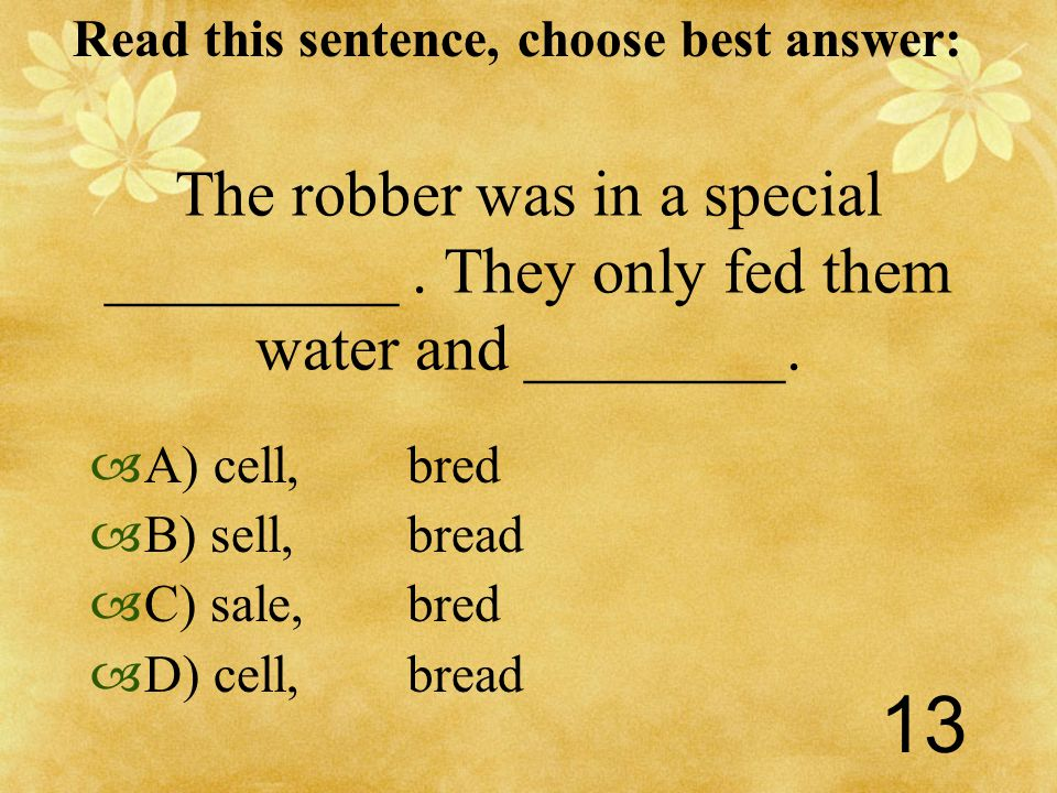 Read this sentence, choose best answer: 13 The robber was in a special _________.