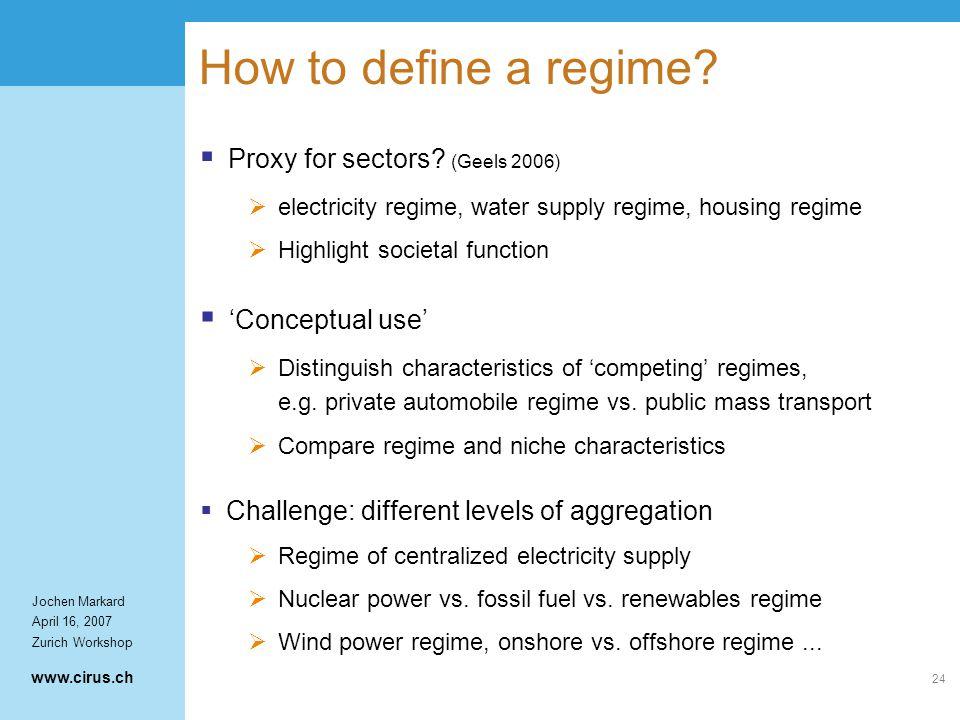 www.cirus.ch Jochen Markard April 16, 2007 Zurich Workshop 24 How to define a regime.