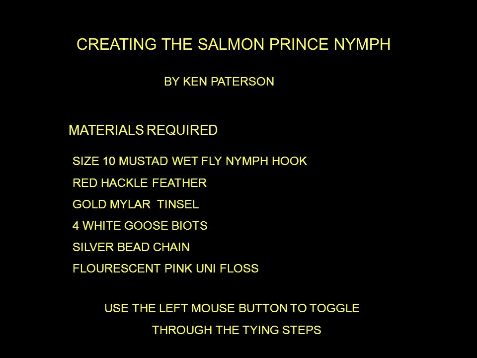 CREATING THE SALMON PRINCE NYMPH MATERIALS REQUIRED SIZE 10 MUSTAD WET FLY NYMPH HOOK RED HACKLE FEATHER GOLD MYLAR TINSEL 4 WHITE GOOSE BIOTS SILVER BEAD CHAIN FLOURESCENT PINK UNI FLOSS USE THE LEFT MOUSE BUTTON TO TOGGLE THROUGH THE TYING STEPS BY KEN PATERSON