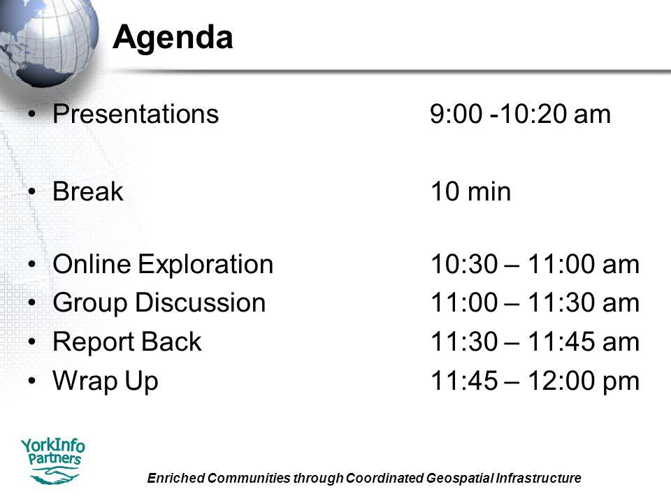 Enriched Communities through Coordinated Geospatial Infrastructure Agenda Presentations9:00 -10:20 am Break10 min Online Exploration10:30 – 11:00 am Group Discussion11:00 – 11:30 am Report Back11:30 – 11:45 am Wrap Up11:45 – 12:00 pm