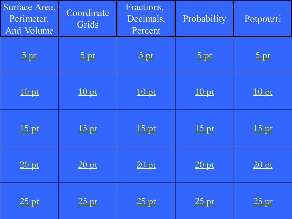 10 pt 15 pt 20 pt 25 pt 5 pt 10 pt 15 pt 20 pt 25 pt 5 pt 10 pt 15 pt 20 pt 25 pt 5 pt 10 pt 15 pt 20 pt 25 pt 5 pt 10 pt 15 pt 20 pt 25 pt 5 pt Surface Area, Perimeter, And Volume Coordinate Grids Fractions, Decimals, Percent ProbabilityPotpourri