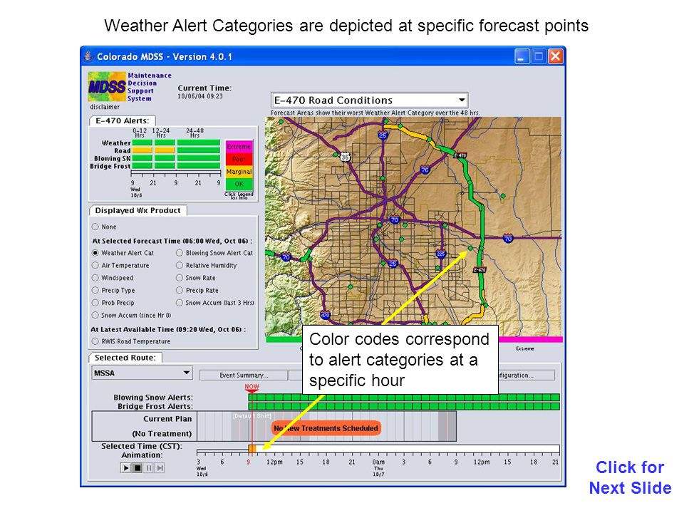 Weather Alert Categories are depicted at specific forecast points Click for Next Slide Color codes correspond to alert categories at a specific hour