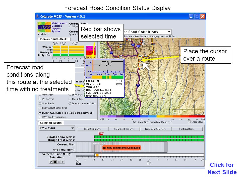 Forecast Road Condition Status Display Click for Next Slide Place the cursor over a route Red bar shows selected time Forecast road conditions along this route at the selected time with no treatments.