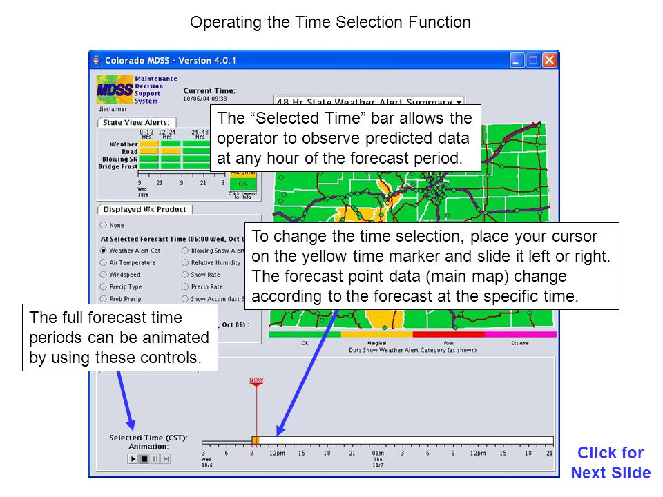 Operating the Time Selection Function The Selected Time bar allows the operator to observe predicted data at any hour of the forecast period.