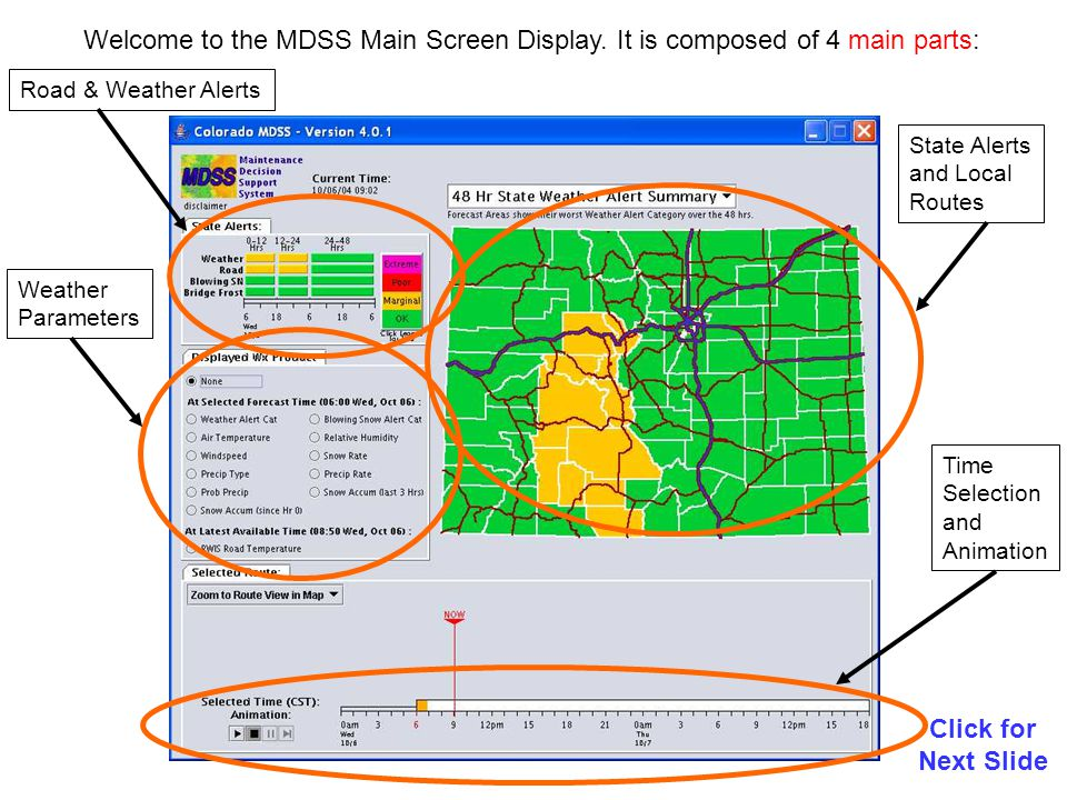 MDSS Treatment Recommendations Click for Next Slide You can click on each checkbox to access each road condition parameter.
