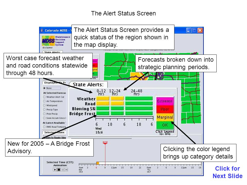 MDSS Alert Category Classification Click for Next Slide Road Alerts Weather Alerts These alert categories are configurable