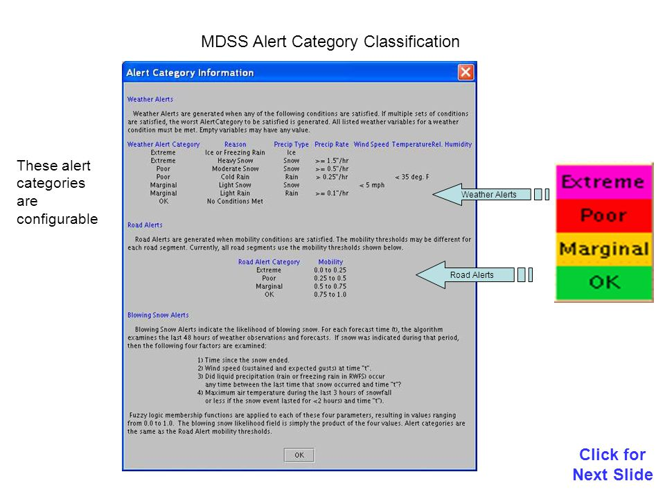 MDSS Treatment Recommendations (Iowa example) Click for Next Slide The operator can try what-if scenarios to see how different chemical dispersion rates or application timing effects the predicted outcome.