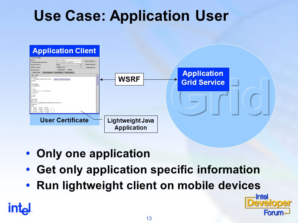 13 Use Case: Application User Application Grid Service User Certificate Application Client WSRF  Only one application  Get only application specific information  Run lightweight client on mobile devices Lightweight Java Application
