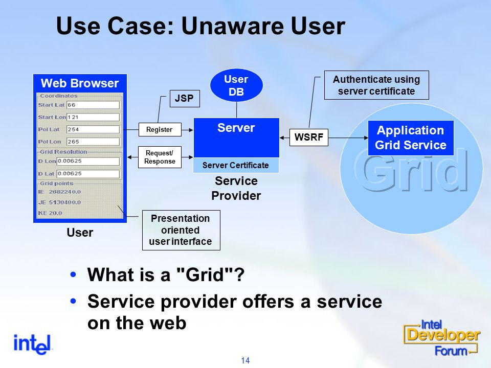 14 Use Case: Unaware User  What is a Grid .