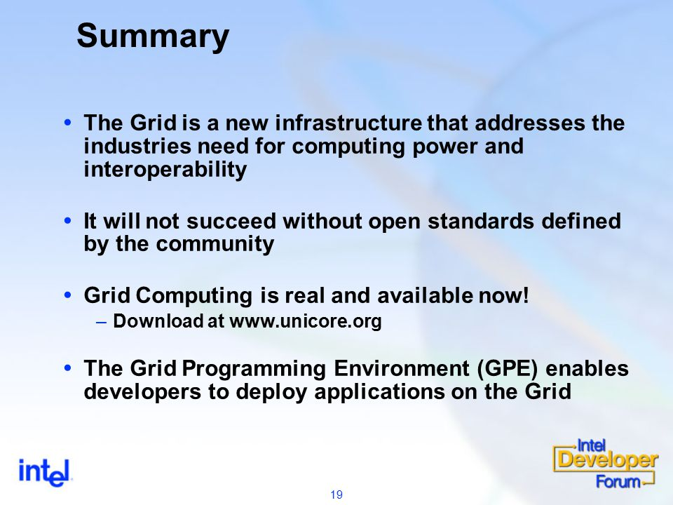 19 Summary  The Grid is a new infrastructure that addresses the industries need for computing power and interoperability  It will not succeed without open standards defined by the community  Grid Computing is real and available now.