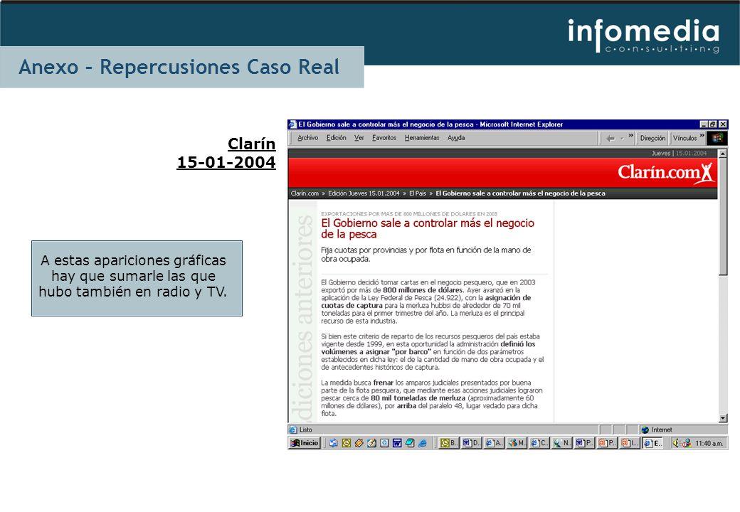 Clarín 15-01-2004 A estas apariciones gráficas hay que sumarle las que hubo también en radio y TV. Anexo – Repercusiones Caso Real