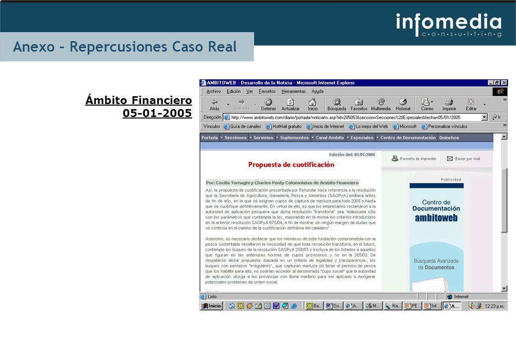 Ámbito Financiero 05-01-2005 Anexo – Repercusiones Caso Real