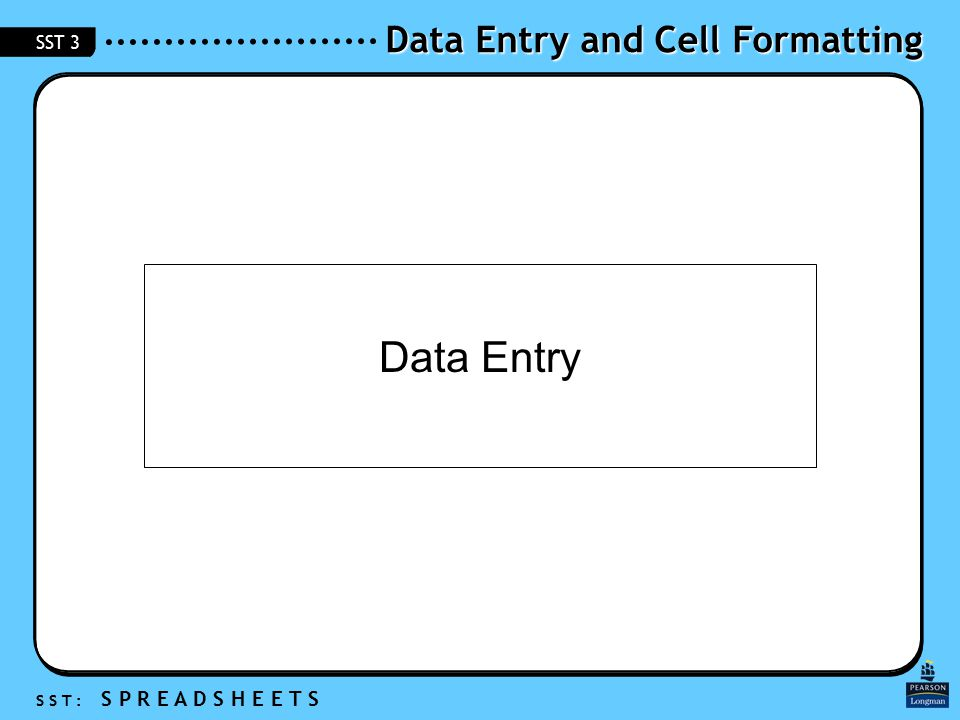 Data Entry and Cell Formatting S S T : S P R E A D S H E E T S SST 3 Data Entry
