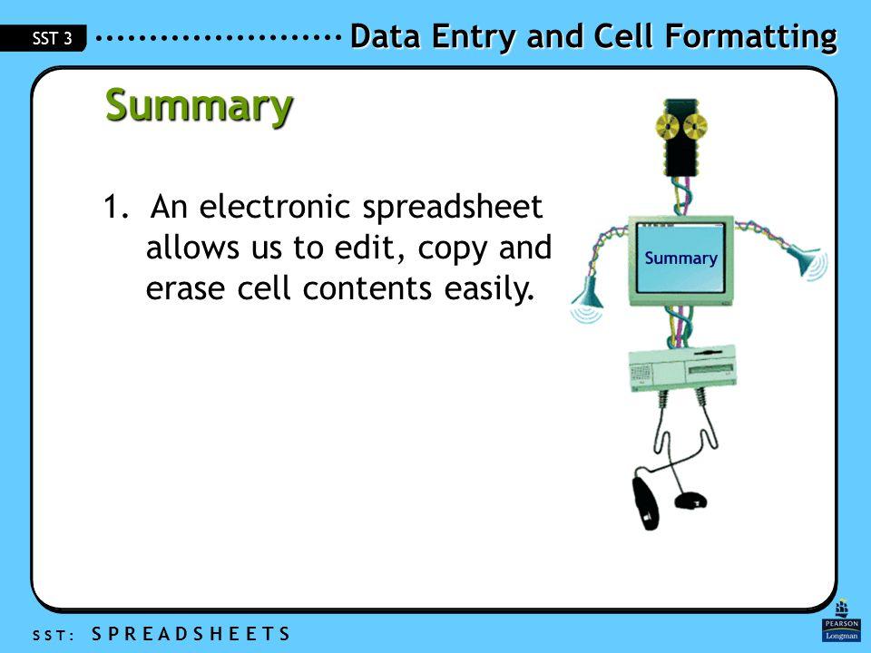 Data Entry and Cell Formatting S S T : S P R E A D S H E E T S SST 3 Summary 1.