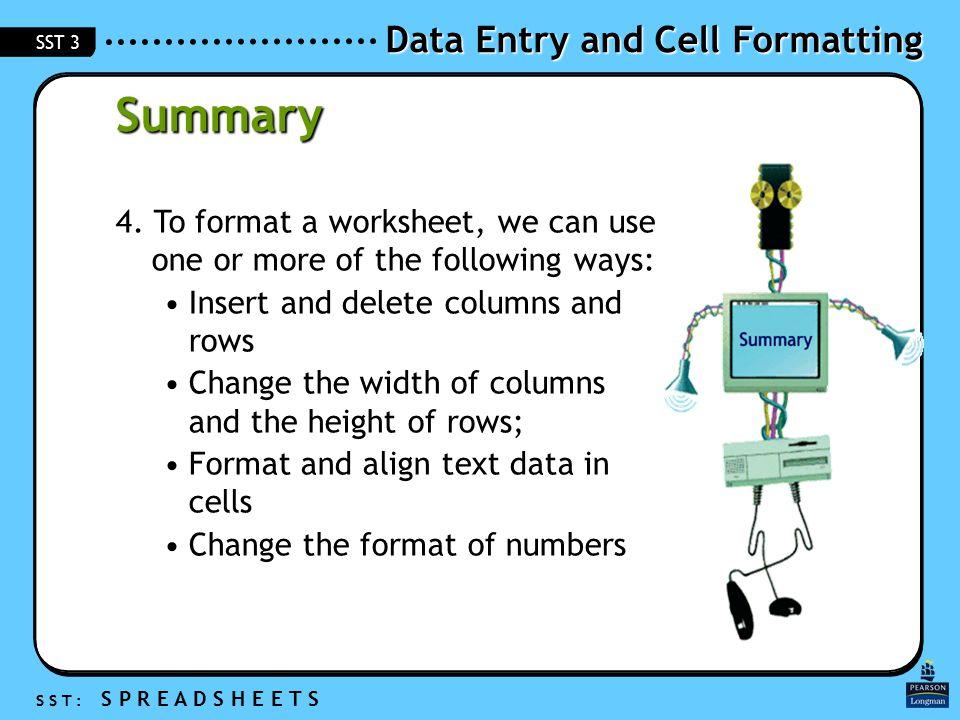 Data Entry and Cell Formatting S S T : S P R E A D S H E E T S SST 3 Summary 4.