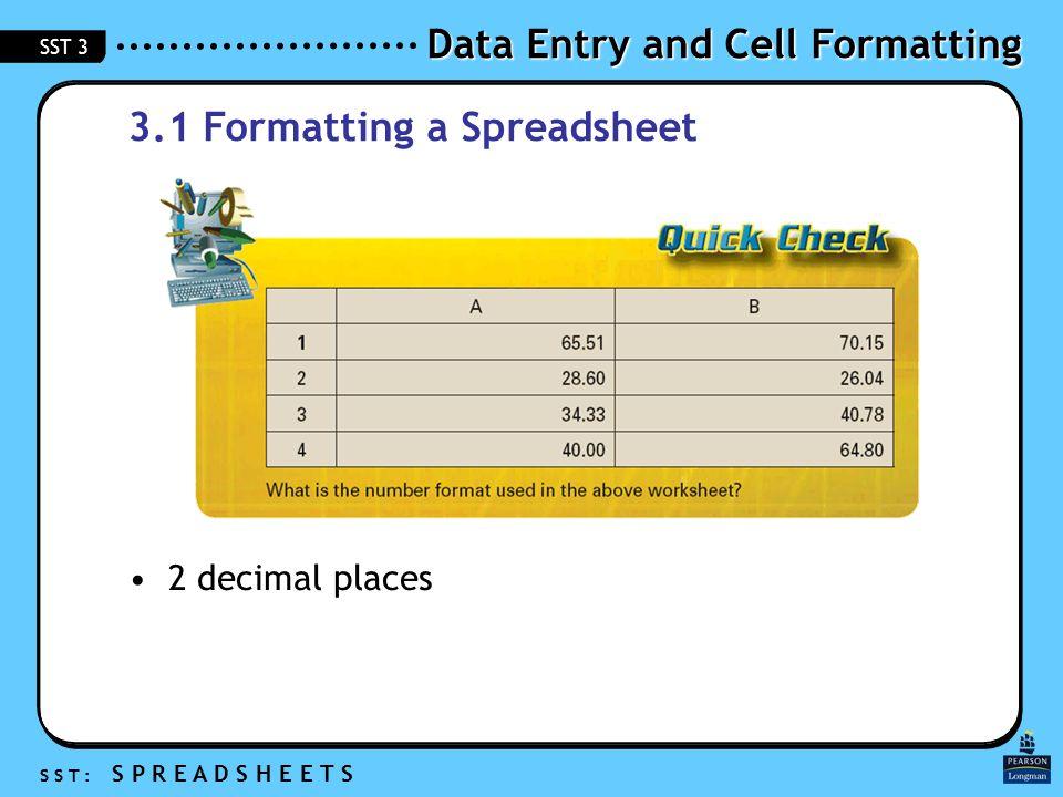 Data Entry and Cell Formatting S S T : S P R E A D S H E E T S SST 3 3.1 Formatting a Spreadsheet 2 decimal places
