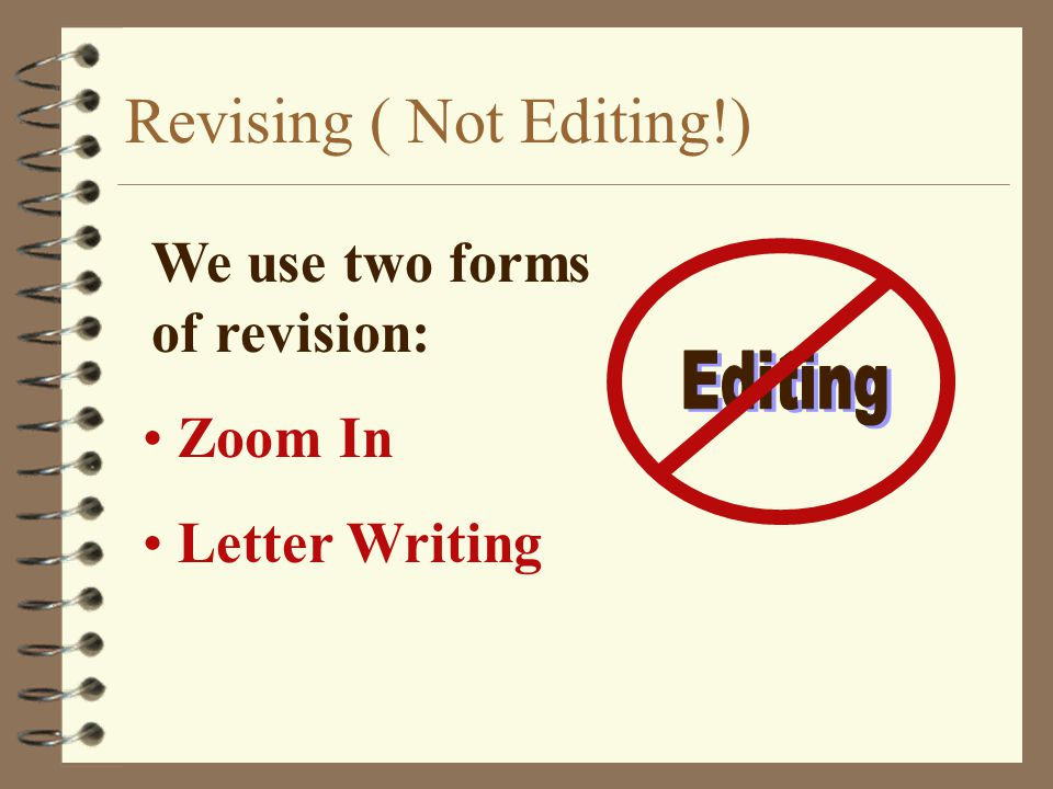 Revising ( Not Editing!) Zoom In Letter Writing We use two forms of revision: