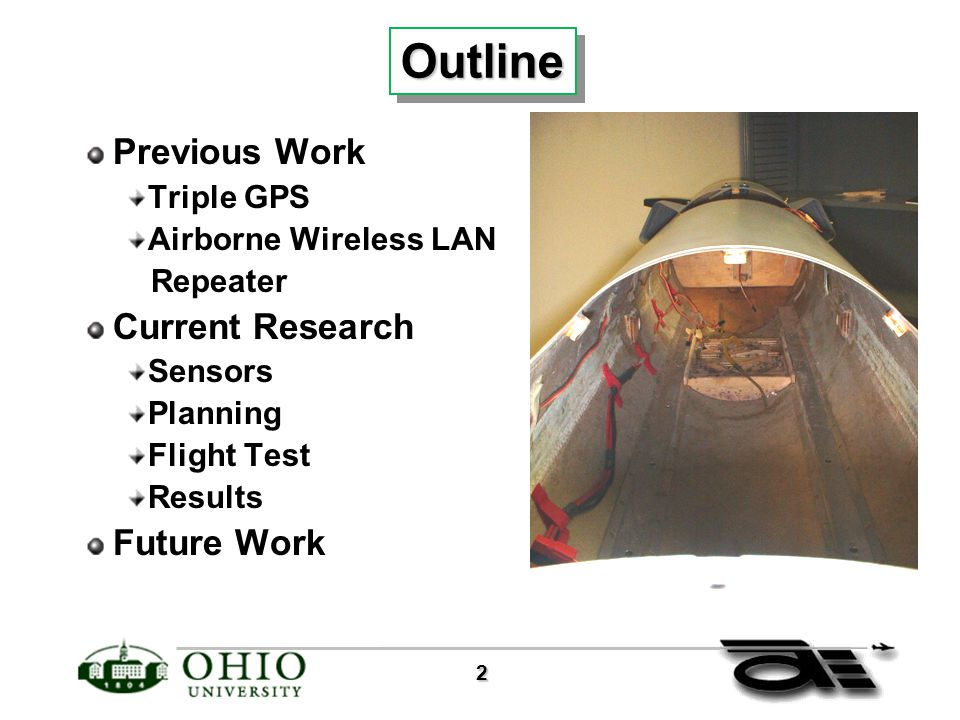 2 OutlineOutline Previous Work Triple GPS Airborne Wireless LAN Repeater Current Research Sensors Planning Flight Test Results Future Work