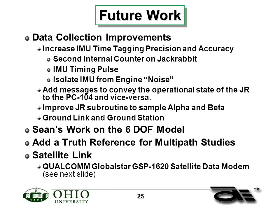 25 25 Future Work Data Collection Improvements Increase IMU Time Tagging Precision and Accuracy Second Internal Counter on Jackrabbit IMU Timing Pulse Isolate IMU from Engine Noise Add messages to convey the operational state of the JR to the PC-104 and vice-versa.