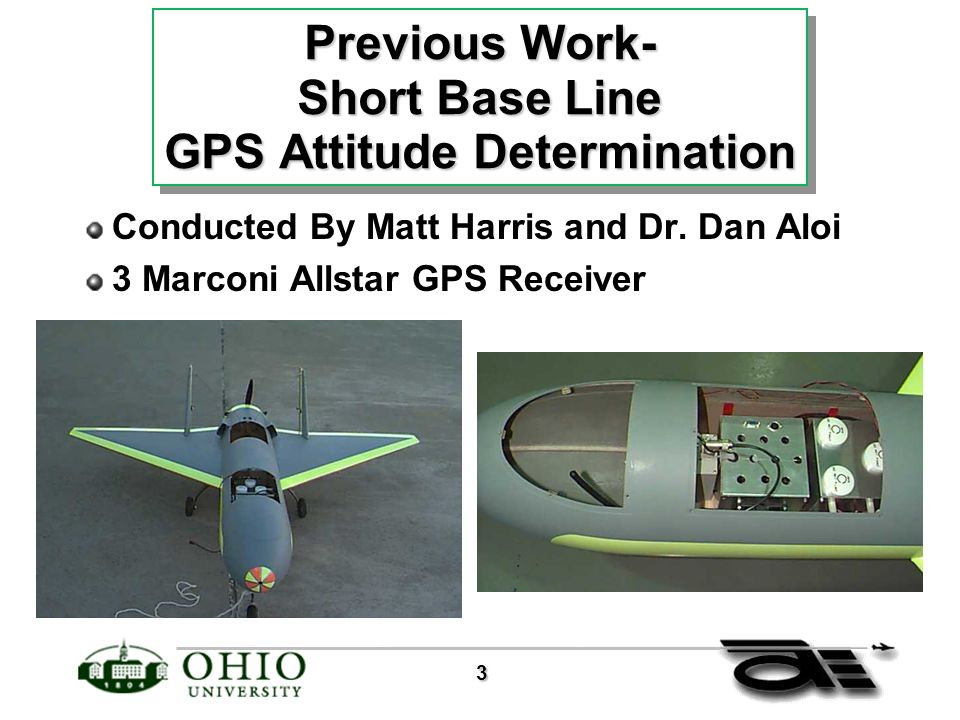 3 Previous Work- Short Base Line GPS Attitude Determination Conducted By Matt Harris and Dr.