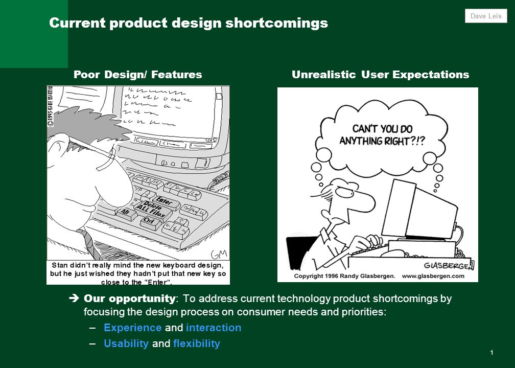 1 Current product design shortcomings Poor Design/ FeaturesUnrealistic User Expectations  Our opportunity : To address current technology product sho