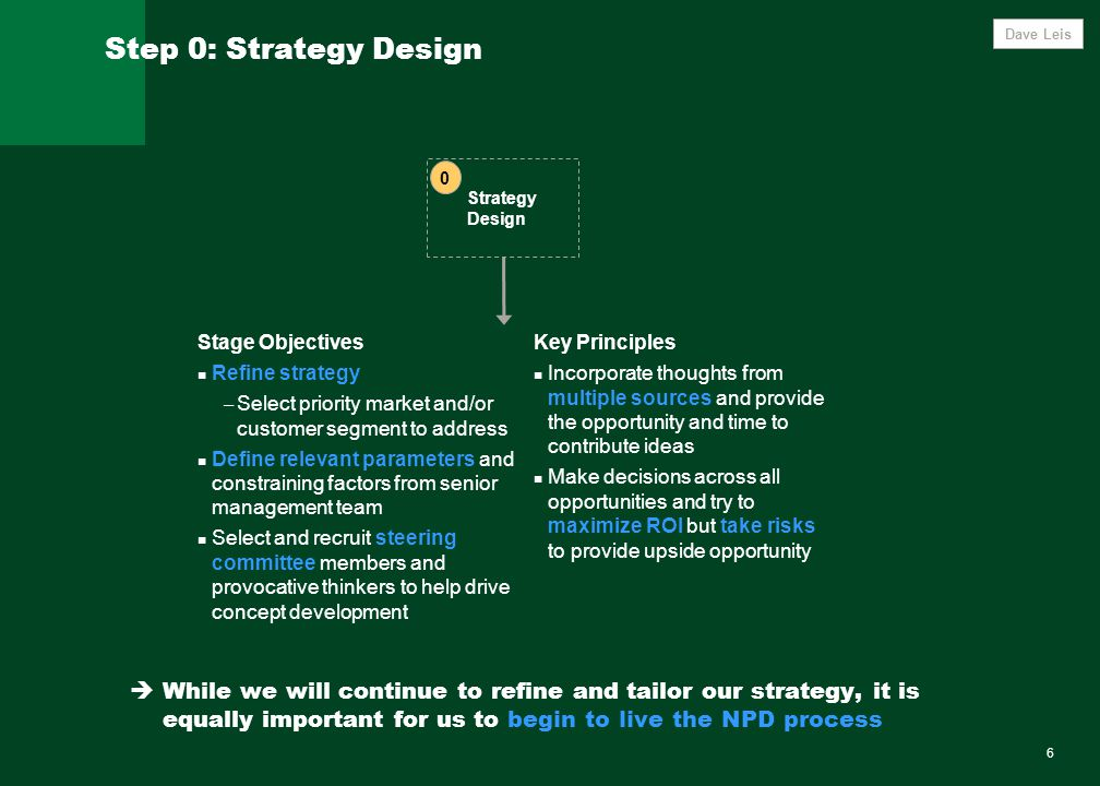6 Step 0: Strategy Design Strategy Design 0 Stage Objectives Refine strategy – Select priority market and/or customer segment to address Define relevant parameters and constraining factors from senior management team Select and recruit steering committee members and provocative thinkers to help drive concept development Key Principles Incorporate thoughts from multiple sources and provide the opportunity and time to contribute ideas Make decisions across all opportunities and try to maximize ROI but take risks to provide upside opportunity  While we will continue to refine and tailor our strategy, it is equally important for us to begin to live the NPD process Dave Leis