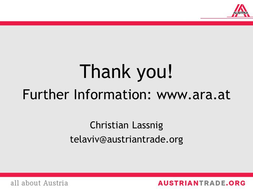 Thank you! Further Information: www.ara.at Christian Lassnig telaviv@austriantrade.org