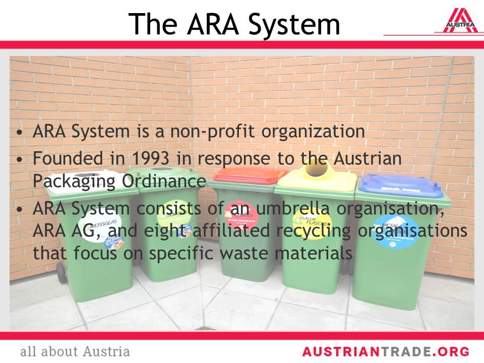 The ARA System ARA System is a non-profit organization Founded in 1993 in response to the Austrian Packaging Ordinance ARA System consists of an umbrella organisation, ARA AG, and eight affiliated recycling organisations that focus on specific waste materials