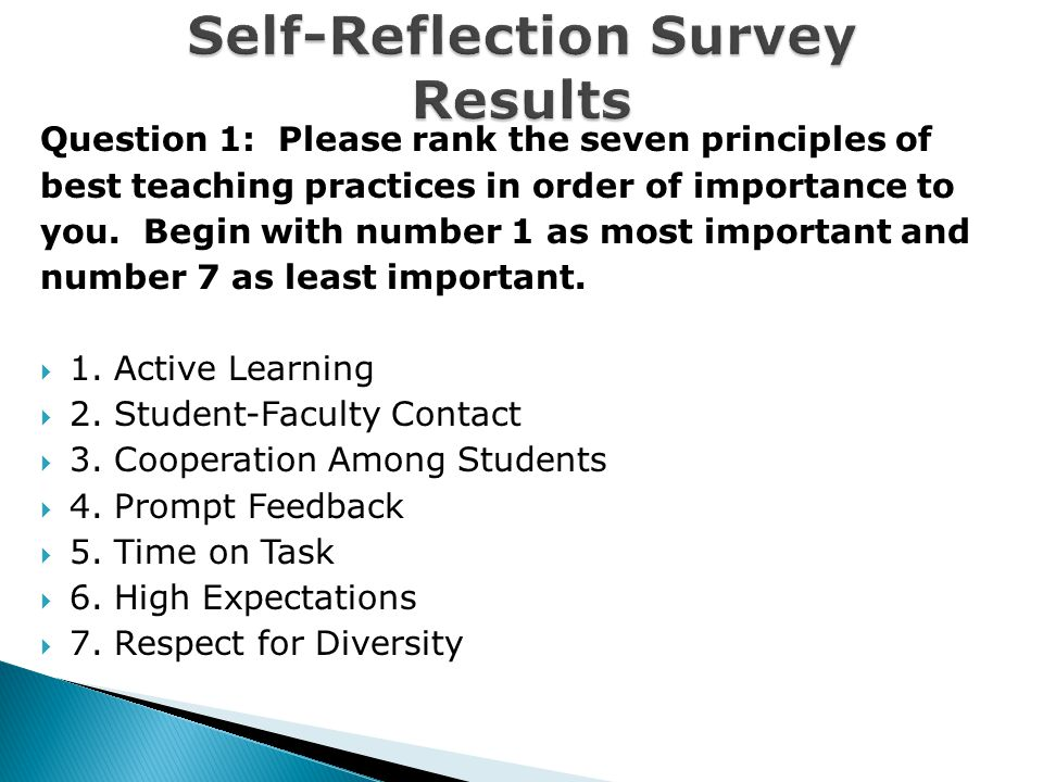 Question 1: Please rank the seven principles of best teaching practices in order of importance to you.