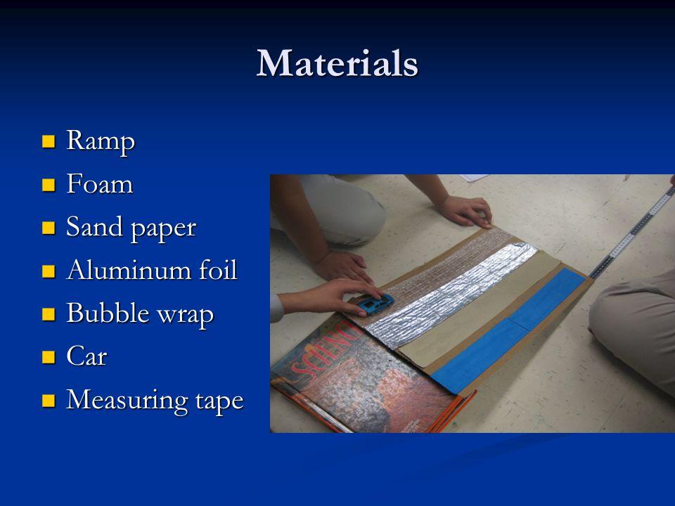 Materials Ramp Ramp Foam Foam Sand paper Sand paper Aluminum foil Aluminum foil Bubble wrap Bubble wrap Car Car Measuring tape Measuring tape