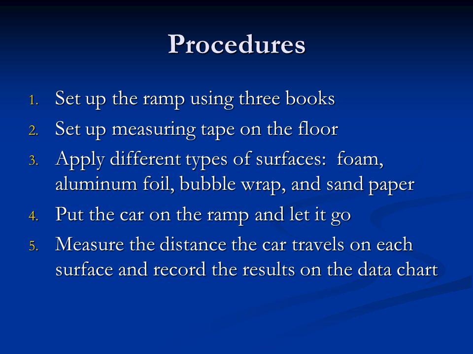 Procedures 1. Set up the ramp using three books 2.