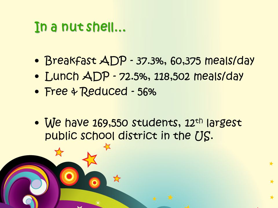 In a nut shell… Breakfast ADP - 37.3%, 60,375 meals/day Lunch ADP - 72.5%, 118,502 meals/day Free & Reduced - 56% We have 169,550 students, 12 th largest public school district in the US.
