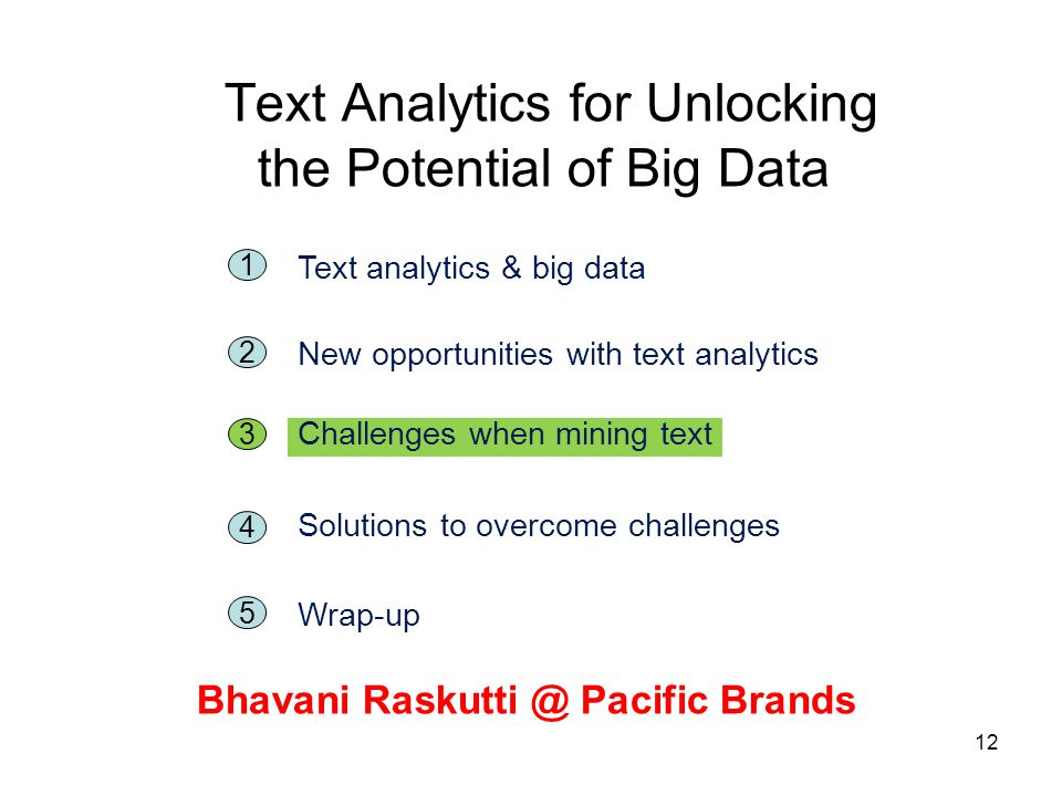 12 Text Analytics for Unlocking the Potential of Big Data Bhavani Raskutti @ Pacific Brands 5 1 Text analytics & big data 2 New opportunities with tex