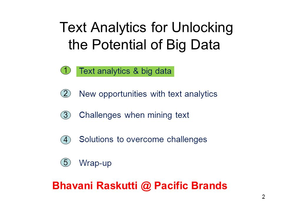 2 Text Analytics for Unlocking the Potential of Big Data Bhavani Raskutti @ Pacific Brands 5 1 Text analytics & big data 2 New opportunities with text