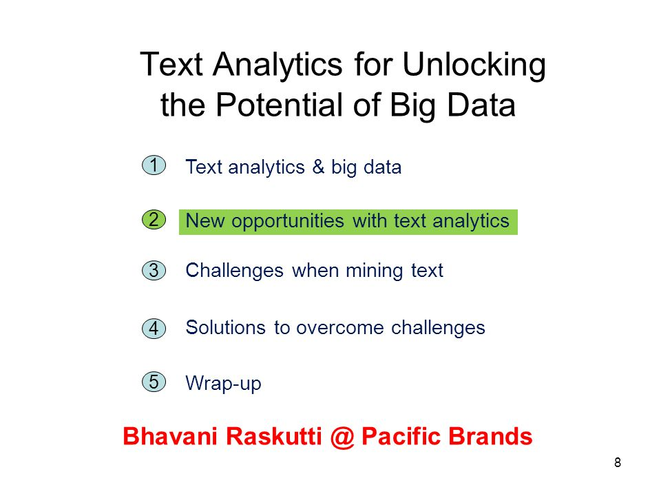 8 Text Analytics for Unlocking the Potential of Big Data Bhavani Raskutti @ Pacific Brands 5 1 Text analytics & big data 2 New opportunities with text