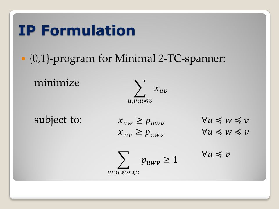 IP Formulation {0,1}-program for Minimal 2-TC-spanner: